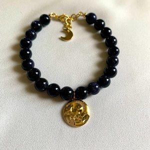 Navy Blue Gold Plated Celestial Beaded Bracelet